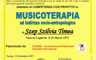 Attestato di Musicoterapia