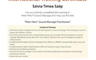 Certificato Peter Hesse Massaggio sonoro